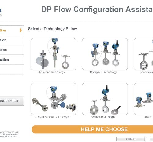 DP flow measurement instrument selection tool