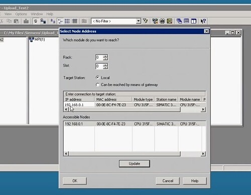 Select IP address of PLC - SIMATIC MANAGER
